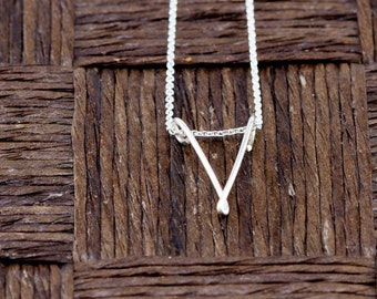Sterling Silver Wire Wrapped Initial Pendant and Necklace - Letter V