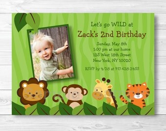 Safari Jungle Animal Birthday Invitation PRINTABLE