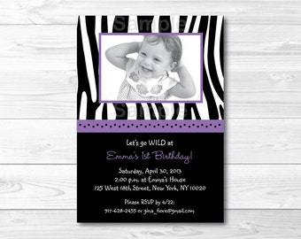 Purple Zebra Print Birthday Invitation PRINTABLE