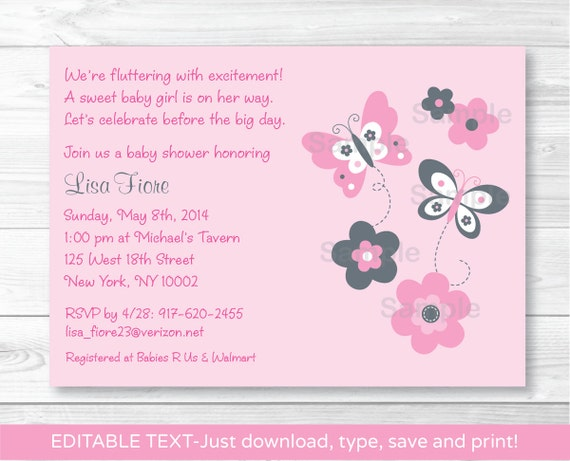 Pink Butterfly Baby Shower Invitation Instant Download Editable