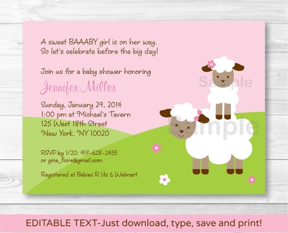 Pink Baby Lamb Baby Shower Invitation INSTANT DOWNLOAD Editable PDF
