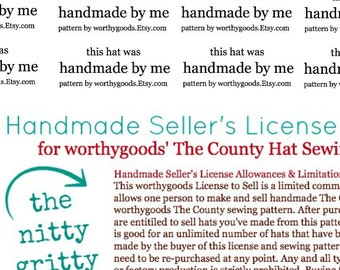 Handmade Seller's License Program and Label Template for worthygoods' The County Hat Sewing Pattern