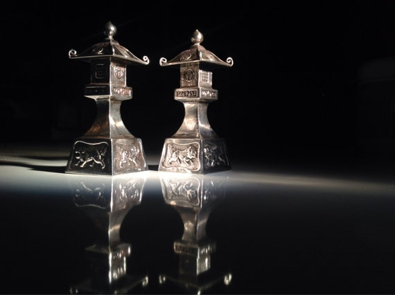 1930 Japanese Sterling Silver 950 Figural Pagoda Salt and Pepper with Foo Dogs