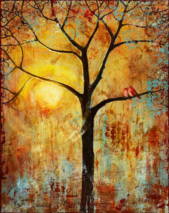 Red Love Birds Tree 13X19 Print