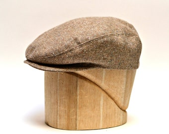 Men's Driving Cap in Taupe Vintage Wool - Retro Driving Cap - Flat Cap - Made to Order