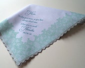 Mother of the bride handkerchief, personalized mementos, customized message, printed handkerchief, lace hankie, to dry your tears