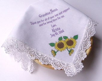 Grandmother Handkerchief,  Personalised Lace Wedding Hankerchief, Sunflowers With Custom Message