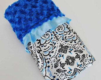 ETHAN BABY BLANKET.........  Soft plush minky with black and white  damask satin print / Light blue satin hand cut trim / New Style