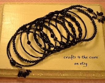 Black Glass Memory Wire Wrap Bracelet