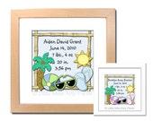 Birth Announcement Print - Beach Baby Boy and Beach Baby Girl Design