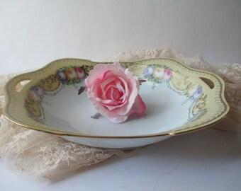 Vintage Silesia RS Yellow Rose Serving Bowl