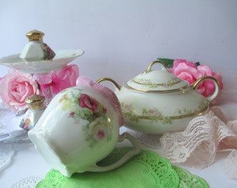 Vintage Pink Green Floral Tea Party Collection of Six - Weddings Bridal