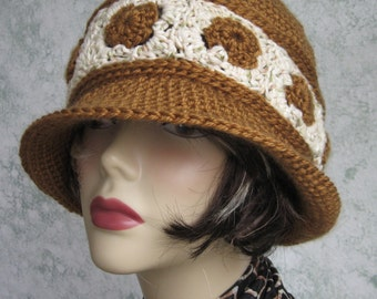Womens Crochet Hat Pattern Brimmed Summer Hat With Contrasting Band Instant Download