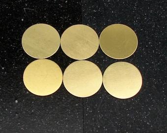 """1"""" Brass Disc 24 Gauge  Pack of 6"""