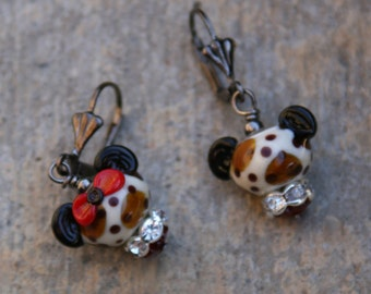 Wild about Disney Leopard Print One Mickey and One Minnie Mouse Style DeSIGNeR EaRRiNgs