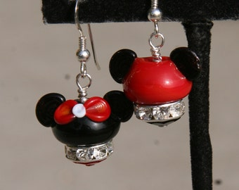 Disney Style Hats  Mouse Ears  Magical Couple One Mickey and One Minnie Mouse Lampwork DeSIGNeR EaRRiNgs
