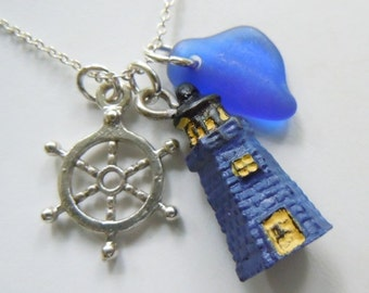 Lighthouse Necklace Blue Sea Glass Beach Jewelry Beach Glass Necklace Ship's Wheel