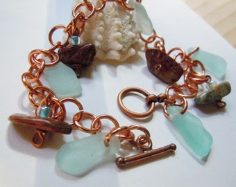 Sea Glass Copper Charm Bracelet, Beach Glass Jewelry
