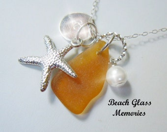 Personalized Amber Beach Glass Necklace Sea Glass Jewelry Seaglass Necklace