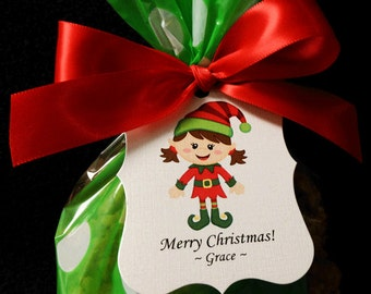 Personalized Christmas Gift Tags, girl elf, set of 24