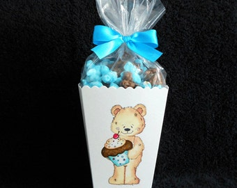Personalized Birthday Party Popcorn Boxes, Birthday Party favors, teddy with cupcake, includes bags and ribbons
