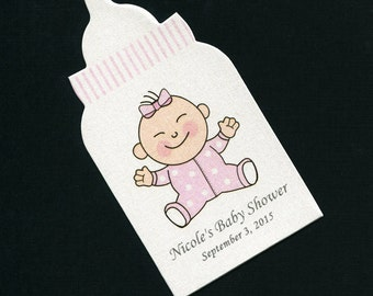 50 Baby Girl Baby Shower Favor Tags - Personalized Baby Shower Tags - Baby Girl Tags - Baby Girl With Pink Dotted Sleeper - Baby Bottle Tags