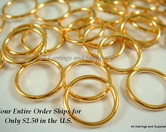 50 Gold Plated Soldered Closed Jump Rings Brass 10mm 18 Gauge - 50 pc - 5820-5