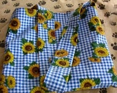 Sunflowers on Blue Check Tote Bag