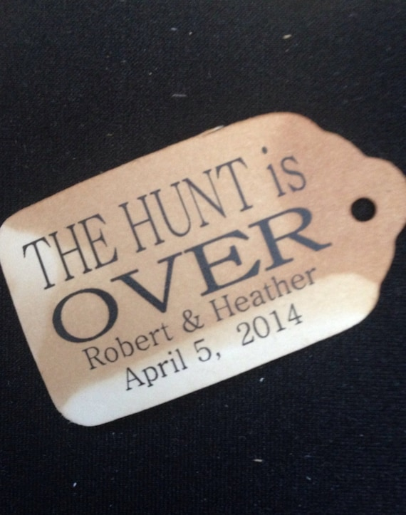 "The Hunt is Over Personalized 100 SMALL 2"" Favor Tag"