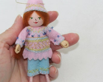 Hanging Ornament Pastel Colors Pixie Felt Doll Art