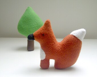 Miniature Fox and Tree Plush Toy Set, Woodland Animal Playset, Play Set Fox