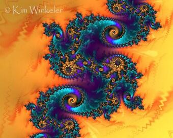 Orange Purple Teal Fractal Fine Art Print 8x10