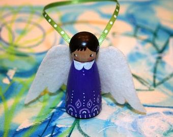 Wool Felt Wood Peg Angel Ornament