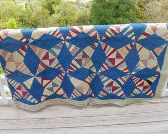 Quilt - vintage 1930s - Blue White and Red Handstitched star design