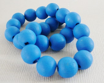 Vintage .. Wood Beads, 10mm Turquoise Blue Bead Jewelry Supplies