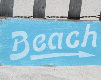 BEACH cottage shabby rustic wood sign with arrow blue vintage style, weathered blue beach sign