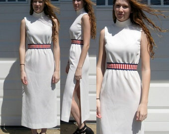 Tennis Party Dress . 70s Tennis  Dress .  Red White and Blue Dress . 70s dress . SALE