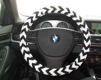 Medium Black Chevron Steering Wheel Cover