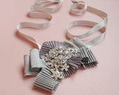 Silver Pleated Silk Satin and Rhinestone Party Cuff Bracelet - Cocktail Cuff