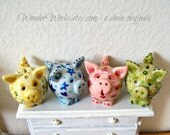 Chubby Miniature Piggy Bank Choose One Sculpted and Painted Unique Dollhouse Scale Decor Large and Small Toy Bank or Custom Pig Pendant