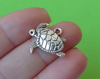 10 Turtle Charms 17x20x3mm ITEM:AD13