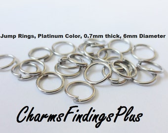 200 Iron 6mm Jump Rings, Platinum Color, 6mm Diameter, 0.7mm thick,