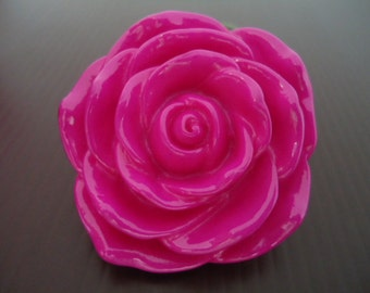 Discount Special: 45mm Fuschia Pink Resin Rose Flower Beads (2x)