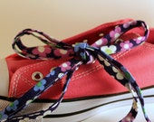 Blue and Purple Floral Fabric Shoelaces with Aglets