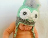 Crochet Hat, Baby Girl Owl, Green and Grey