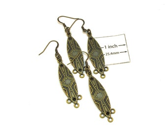 Antiqued Bronze Designer 60mm x 12mm Chandelier  Earrings with 3 Bottom Loops, Sold per 4 pc, 1005-14