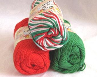 Christmas holiday yarn, 100% cotton yarn, CHRISTMAS  color story,  Green Red White cotton yarn, Creme de la Creme yarn, worsted weight