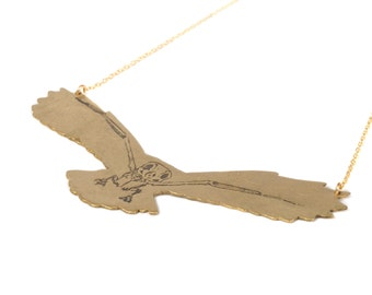 Gray Owl Necklace - Owl Jewelry - Owl Skeleton - Ornithology - Bird Necklace