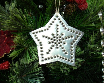 Star Tin Ornament Old Fashioned Silver Tin Punch Hand Cut By West Tinworks