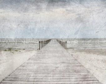 Pier, Seaside photography, ocean photography, sea theme decor, ocean print, ocean decor, beach wall decor, sea decor, nautical decor